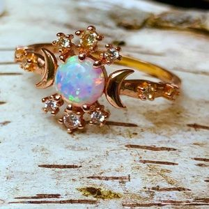 Rose gold opal ring sun and moon/FJ
